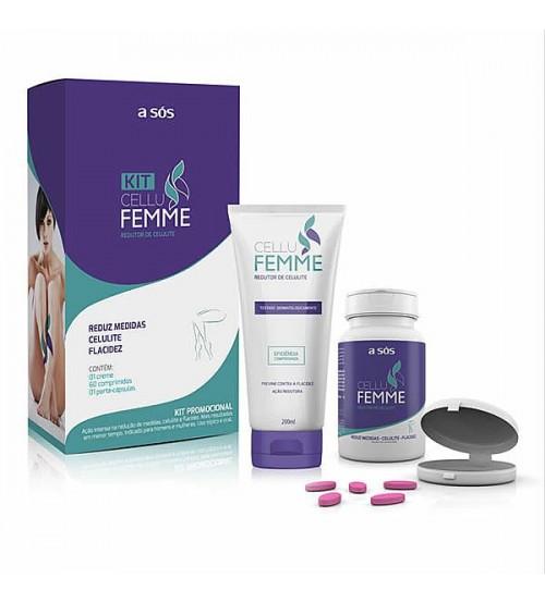 Redutor de Celulite Cellu Femme kit com Comprimidos e Creme
